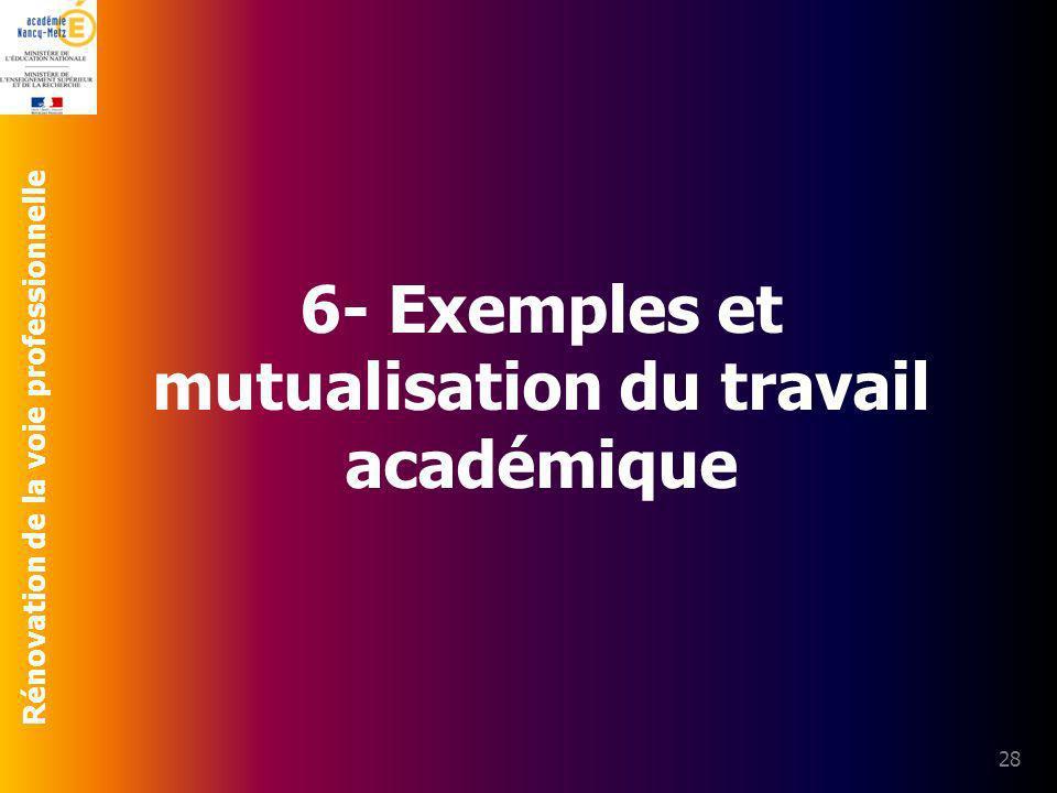 Rénovation de la voie professionnelle 28 6- Exemples et mutualisation du travail académique