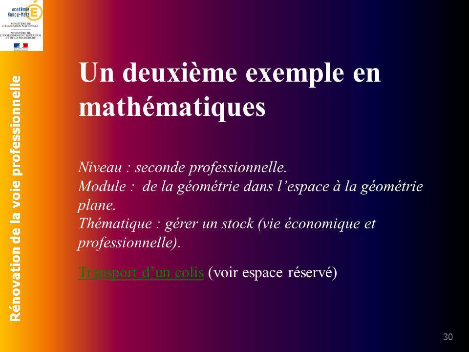 Rénovation de la voie professionnelle 30 Un deuxième exemple en mathématiques Niveau : seconde professionnelle. Module : de la géométrie dans lespace