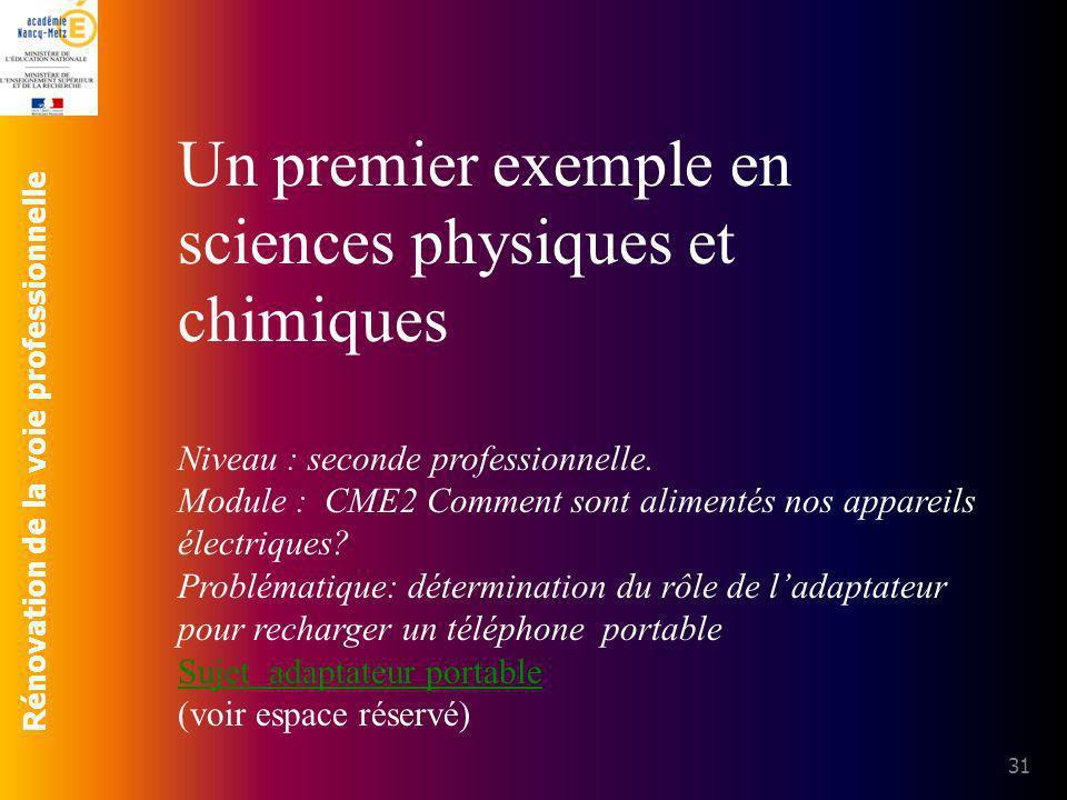 Rénovation de la voie professionnelle 31 Un premier exemple en sciences physiques et chimiques Niveau : seconde professionnelle. Module : CME2 Comment