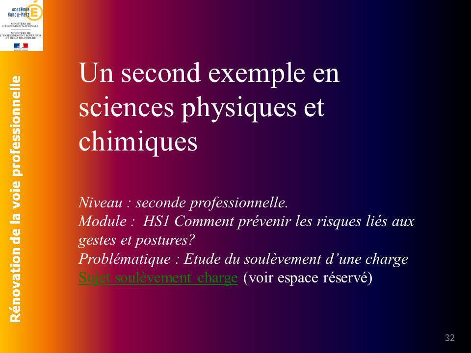 Rénovation de la voie professionnelle 32 Un second exemple en sciences physiques et chimiques Niveau : seconde professionnelle. Module : HS1 Comment p