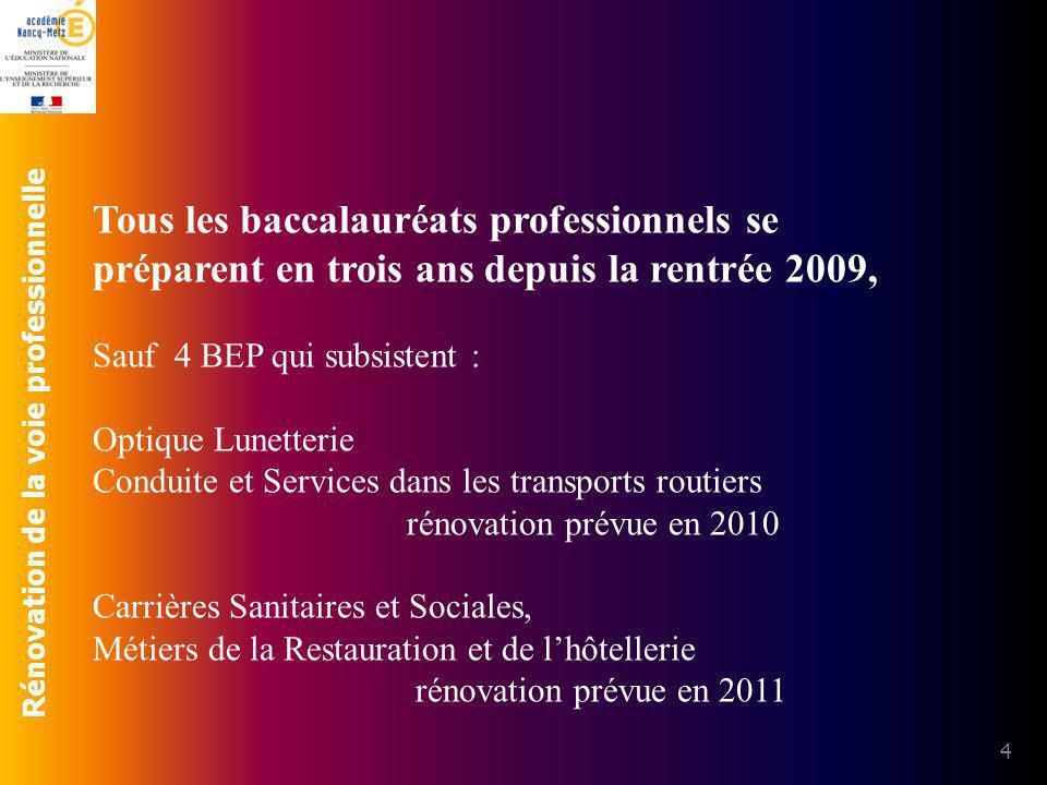 Rénovation de la voie professionnelle 4 Tous les baccalauréats professionnels se préparent en trois ans depuis la rentrée 2009, Sauf 4 BEP qui subsist