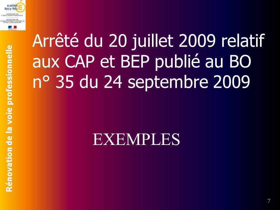 Rénovation de la voie professionnelle Arrêté du 20 juillet 2009 relatif aux CAP et BEP publié au BO n° 35 du 24 septembre 2009 7 EXEMPLES