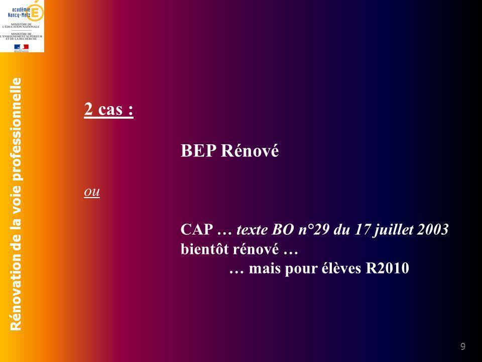 Rénovation de la voie professionnelle 9 2 cas : BEP Rénové ou CAP … texte BO n°29 du 17 juillet 2003 bientôt rénové … … mais pour élèves R2010