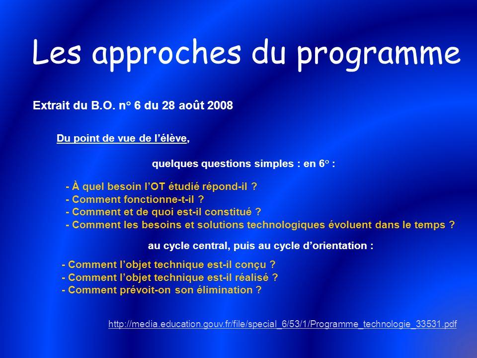 Les approches du programme Du point de vue de lélève, quelques questions simples : en 6° : - À quel besoin lOT étudié répond-il ? - Comment fonctionne