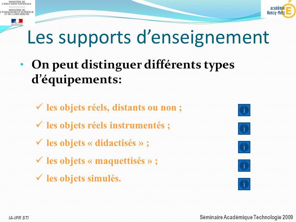 IA-IPR STI Séminaire Académique Technologie 2009 Les supports denseignement On peut distinguer différents types déquipements: les objets réels, distan