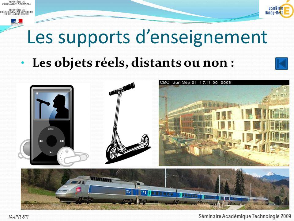 IA-IPR STI Séminaire Académique Technologie 2009 Les supports denseignement Les objets réels, distants ou non :