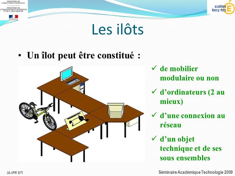 IA-IPR STI Séminaire Académique Technologie 2009 Les ilôts Un îlot peut être constitué : de mobilier modulaire ou non dordinateurs (2 au mieux) dune c
