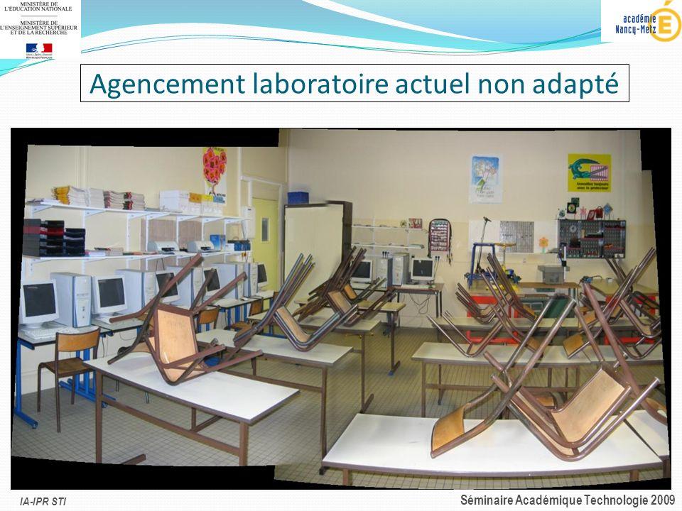 IA-IPR STI Séminaire Académique Technologie 2009 Agencement laboratoire actuel non adapté