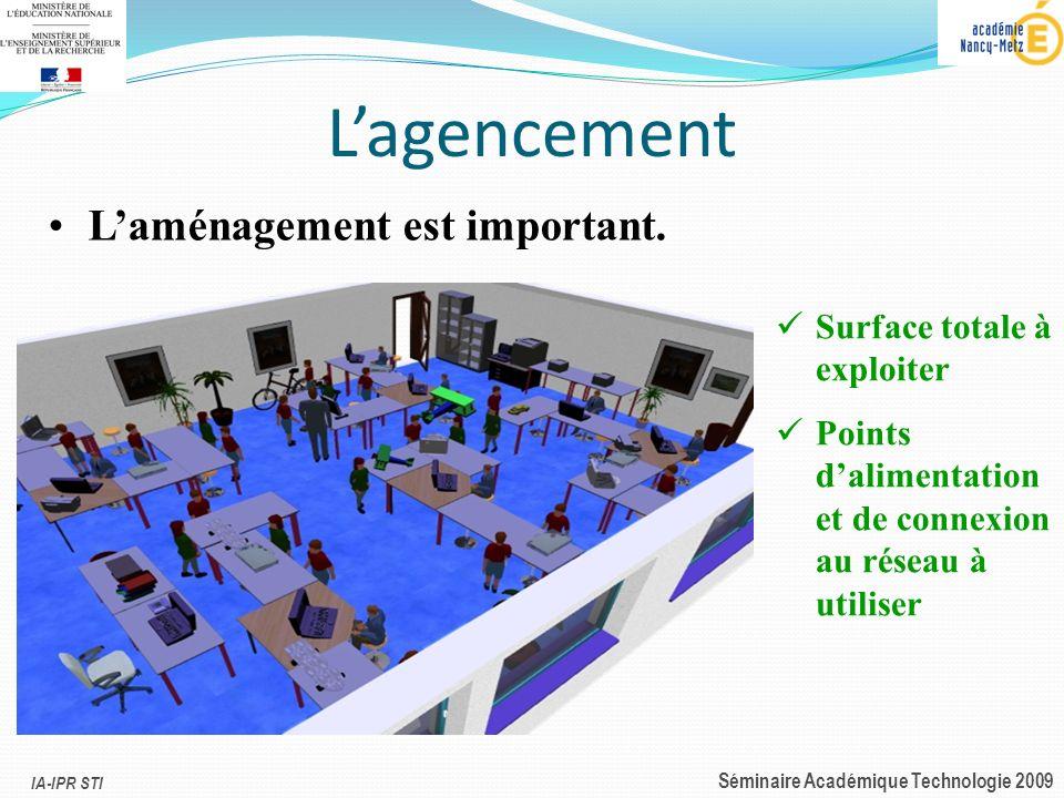 IA-IPR STI Séminaire Académique Technologie 2009 Lagencement Laménagement est important. Surface totale à exploiter Points dalimentation et de connexi