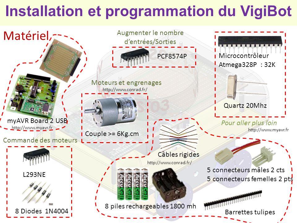 Installation et programmation du VigiBot Charger le programme dans le microcontrôleur 1) Exécuter le programme /VigiBot/MyAvrProgTool/myAVR_ProgTool.exe 3) Cocher la case Flash brennen 4) Décocher Les cases EEPROM et Fuses brennen 5) Cliquer sur Suchen… et charger le fichier /VigiBot/Hex/vigibot8.exe OU /VigiBot/Hex/vigibot328.exe 6) Cliquer sur le bouton Brennen 2) Sélectionner longlet Brennen