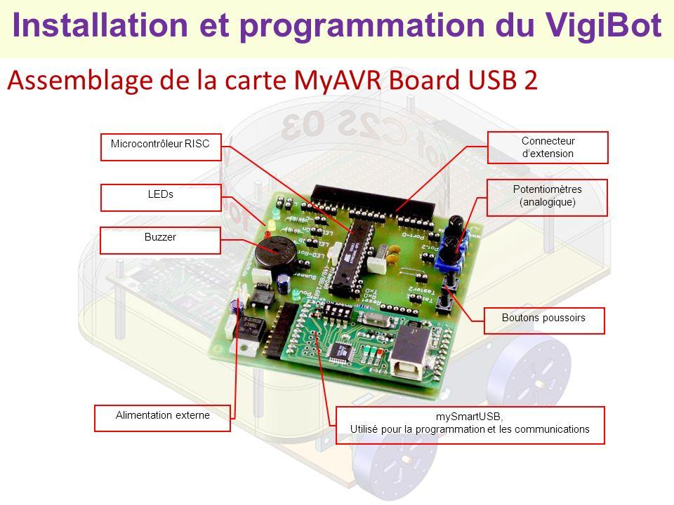 Installation et programmation du VigiBot Programmation par les élèves 1) Ecrire le programme - Ecriture directe dans le tableau en respectant la syntaxe - Glisser / Déposer 2) Enregistrer le programme sur le disque 3) Envoyer le programme dans la mémoire flash du microcontrôleur 5) Mettre le programme dans lEEPROM pour pouvoir le lancer une fois le câble USB débranché 4) Exécuter le programme (Câble USB branché sur PC)