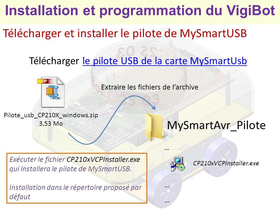 Installation et programmation du VigiBot Relier la carte MySmartUSB à lordinateur 1234 ON OFF Configurer MySmartUSB en programmateur en positionnant les micro-interrupteurs