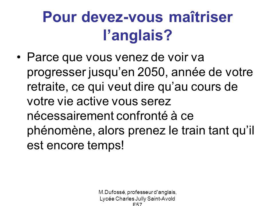 M.Dufossé, professeur d'anglais, Lycée Charles Jully Saint-Avold F57 Pour devez-vous maîtriser langlais? Parce que vous venez de voir va progresser ju