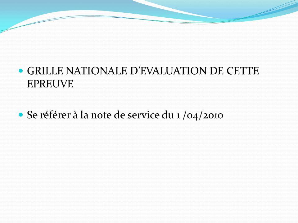 GRILLE NATIONALE DEVALUATION DE CETTE EPREUVE Se référer à la note de service du 1 /04/2010