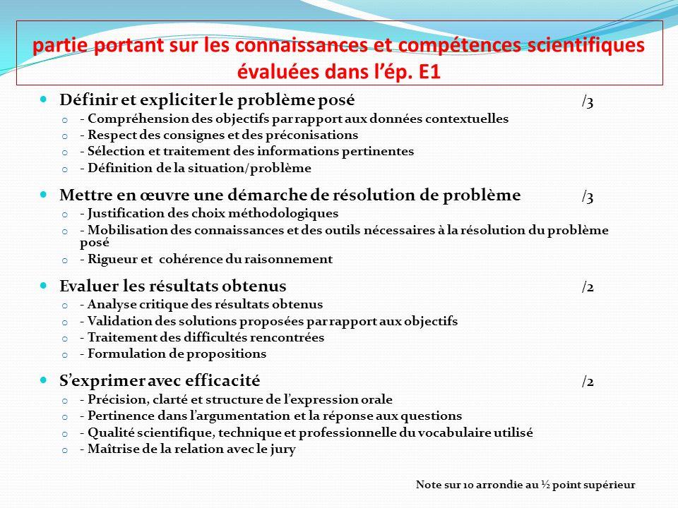 partie portant sur les connaissances et compétences scientifiques évaluées dans lép. E1 Définir et expliciter le problème posé /3 o - Compréhension de