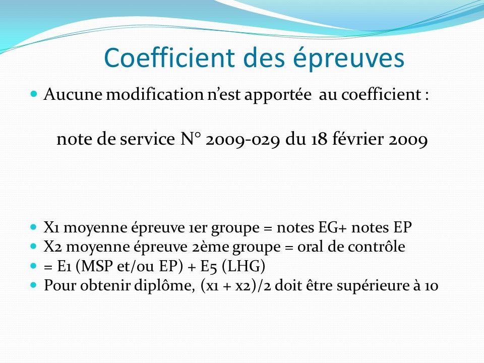 Coefficient des épreuves Aucune modification nest apportée au coefficient : note de service N° 2009-029 du 18 février 2009 X1 moyenne épreuve 1er groupe = notes EG+ notes EP X2 moyenne épreuve 2ème groupe = oral de contrôle = E1 (MSP et/ou EP) + E5 (LHG) Pour obtenir diplôme, (x1 + x2)/2 doit être supérieure à 10