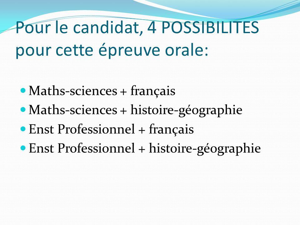 Pour le candidat, 4 POSSIBILITES pour cette épreuve orale: Maths-sciences + français Maths-sciences + histoire-géographie Enst Professionnel + français Enst Professionnel + histoire-géographie