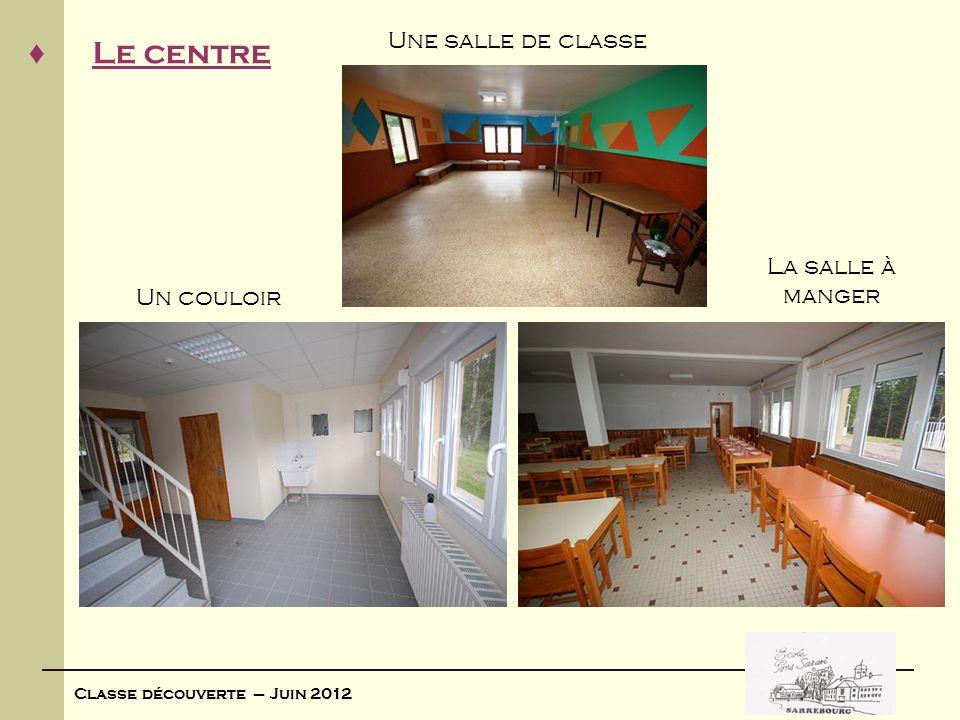 Classe découverte – Juin 2012 Les chambres Répartition non mixte dans les chambres Il y a une salle de bain dans chaque chambre (douche, lavabo, wc) Chambres de 4 à 6 lits