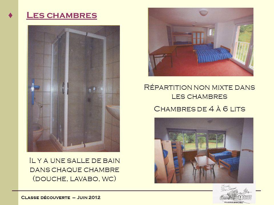 Classe découverte – Juin 2012 Les chambres Répartition non mixte dans les chambres Il y a une salle de bain dans chaque chambre (douche, lavabo, wc) C