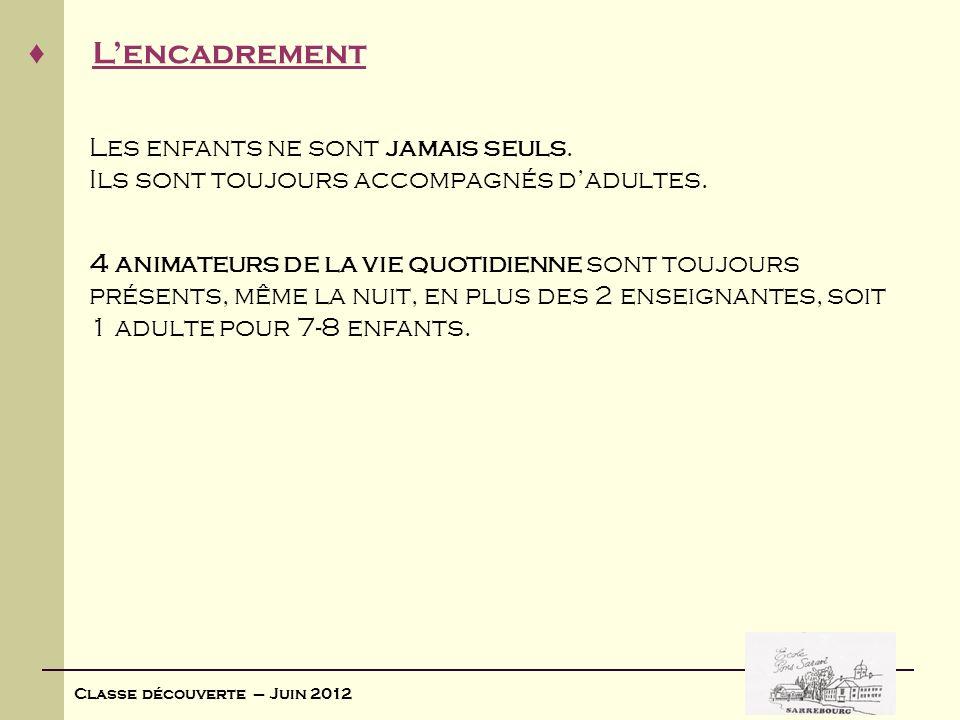 Classe découverte – Juin 2012 La sécurité Le centre « Les quatre Sapins » est inscrit au registre départemental des structures daccueil de léducation nationale.