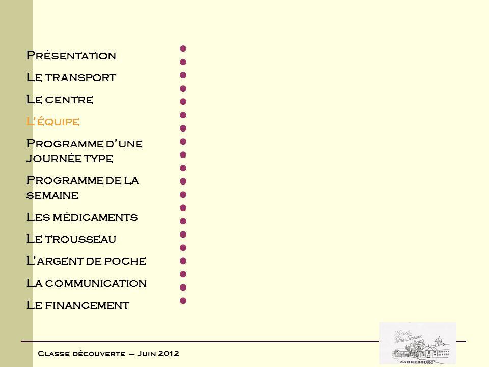 Classe découverte – Juin 2012 Présentation Le transport Le centre Léquipe Programme dune journée type Programme de la semaine Les médicaments Le trous