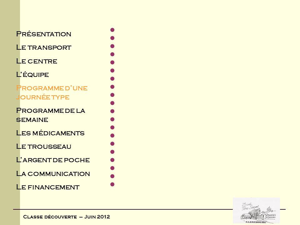 Classe découverte – Juin 2012 Voici le programme dune journée type : HORAIRESACTIVITESTACHES DES ENFANTSTACHES DES ADULTES 8H30-9H00 Se lèvent sans bruit, se couvrent, sortent des chambres Au moins un animateur intervenant dès 7H30 pour « orchestrer » le lever.
