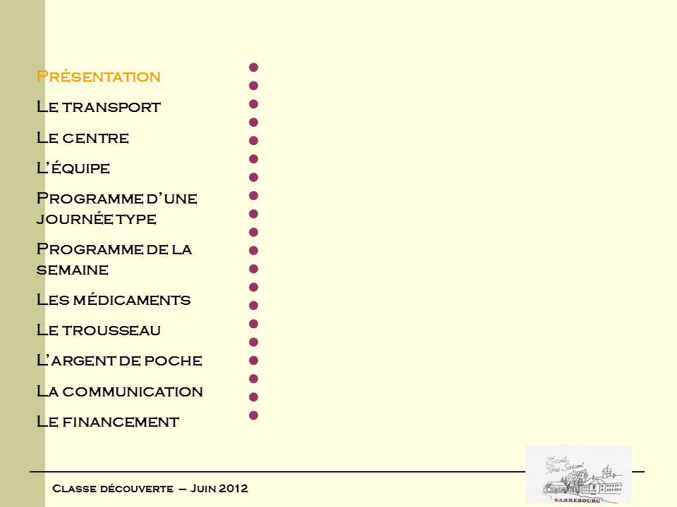 Présentation Le transport Le centre Léquipe Programme dune journée type Programme de la semaine Les médicaments Le trousseau Largent de poche La commu
