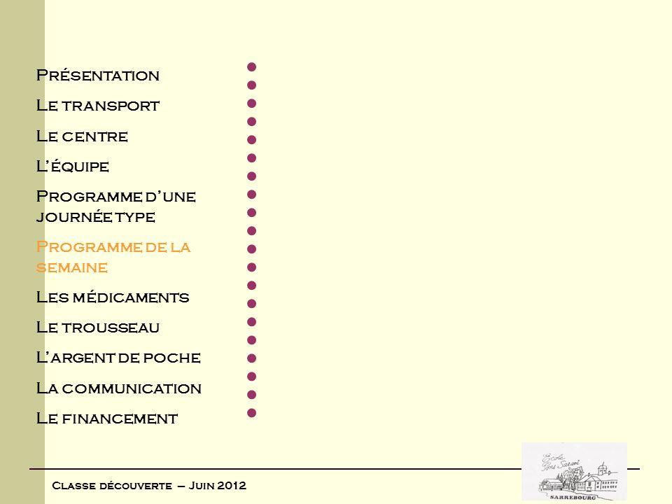 Classe découverte – Juin 2012 Lundi 4 juin 2012 MatinAprès-midi Arrivée dans la matinée Installation : Visite des lieux Déballage des valises Visite de la Saboterie à Gérardmer (13 km) Visionnage dun film en 3 D avec effets olfactifs retraçant la vie des paysans des Hautes Vosges dautrefois à le Tholly (16 km) Découverte du savoir et de la tradition dun vieux métier transmis de père en fils depuis plusieurs générations.