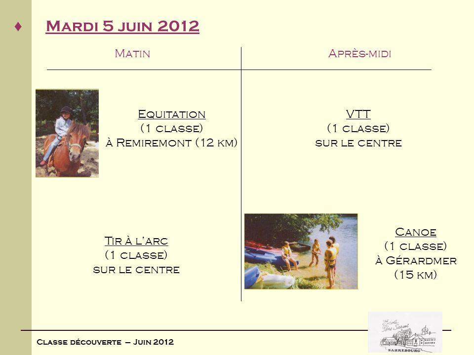 Classe découverte – Juin 2012 Mardi 5 juin 2012 MatinAprès-midi Equitation (1 classe) à Remiremont (12 km) Tir à larc (1 classe) sur le centre VTT (1