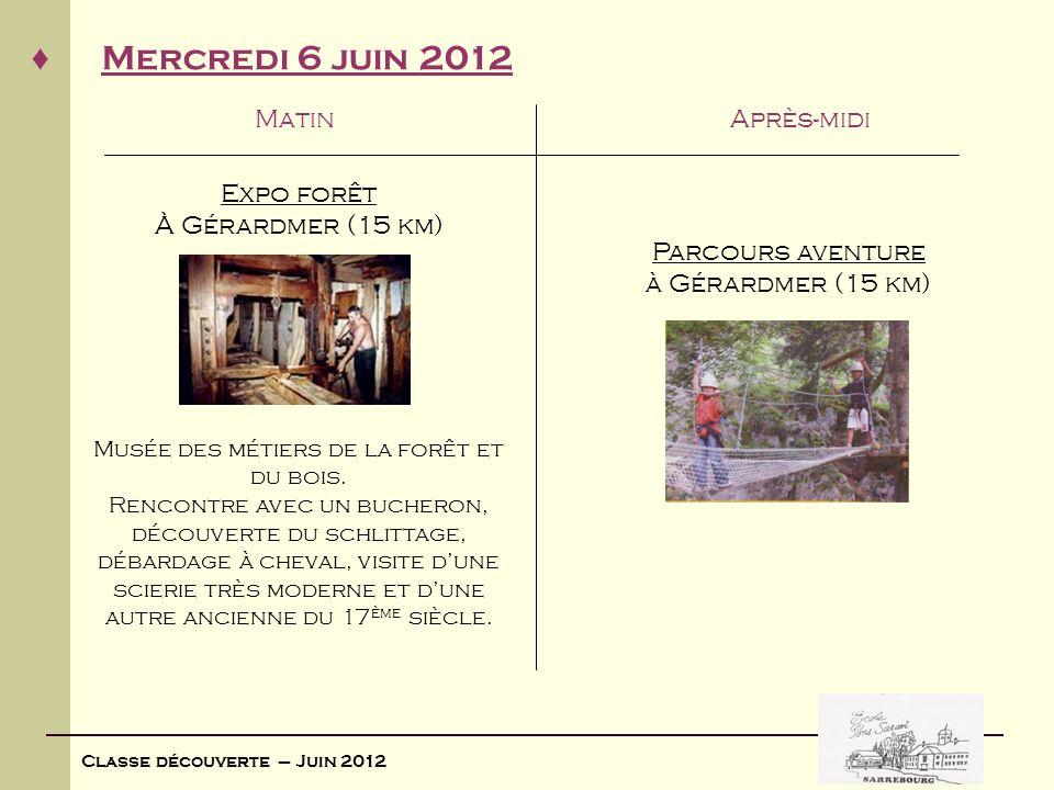 Classe découverte – Juin 2012 Mercredi 6 juin 2012 MatinAprès-midi Expo forêt À Gérardmer (15 km) Musée des métiers de la forêt et du bois. Rencontre