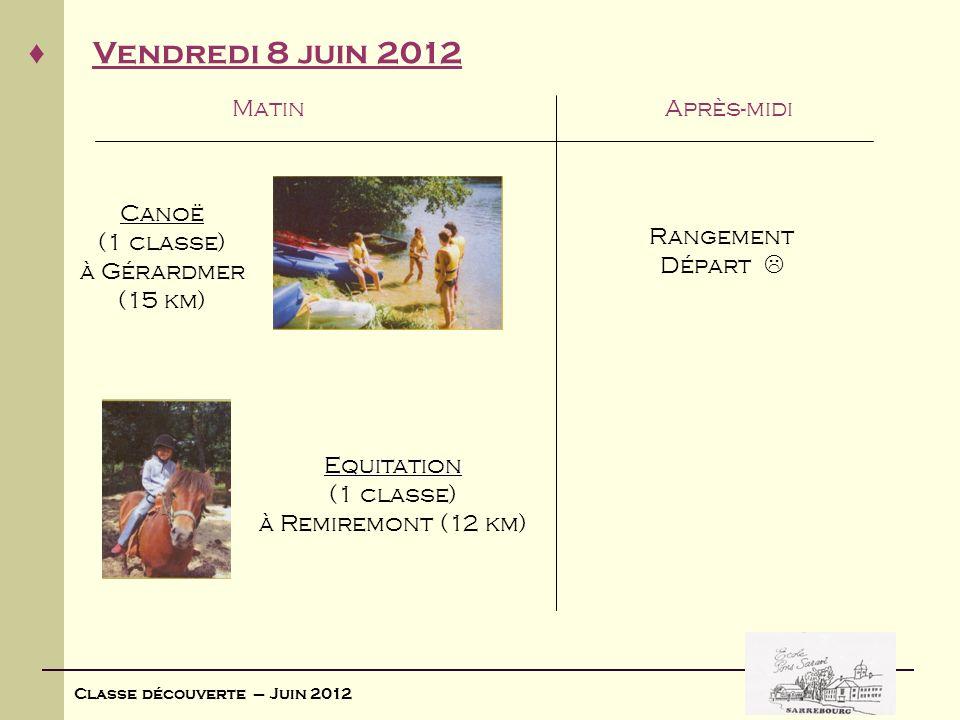 Classe découverte – Juin 2012 Vendredi 8 juin 2012 MatinAprès-midi Rangement Départ Canoë (1 classe) à Gérardmer (15 km) Equitation (1 classe) à Remir