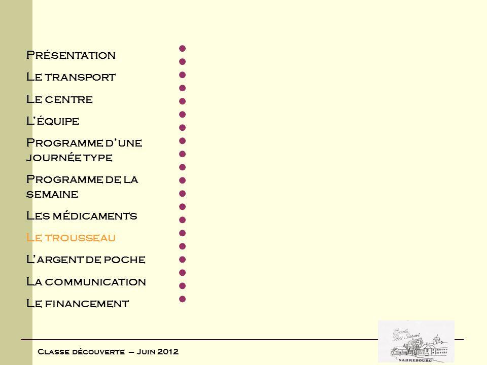 Classe découverte – Juin 2012 Voici la liste des affaires à apporter : Pulls de laine ou polaire2 K-Way ou coupe-vent1 Paires de chaussettes7 Paire de chaussures pour la marche/baskets1 Paire de chaussures de ville1 Paire de pantoufles1 Pyjamas ou chemises de nuit2 Culottes ou slips7 Pantalons3 Sweats ou polos manches longues2 Shorts ou bermudas2 Tee-shirts5