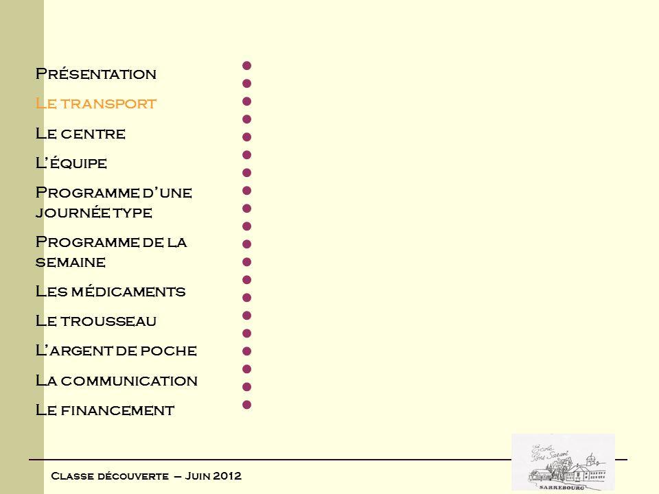 Classe découverte – Juin 2012 Les horaires Heure du départ le lundi 4 juin 2012 : devant lécole Pons Saravi côté Sarre 7 h 45 7 h 45 chargement des affaires dans le bus 8 h 00 8 h 00 départ du bus Heure du retour le vendredi 8 juin 2012 : 17 h 00 17 h 00 devant lécole Pons Saravi côté Sarre
