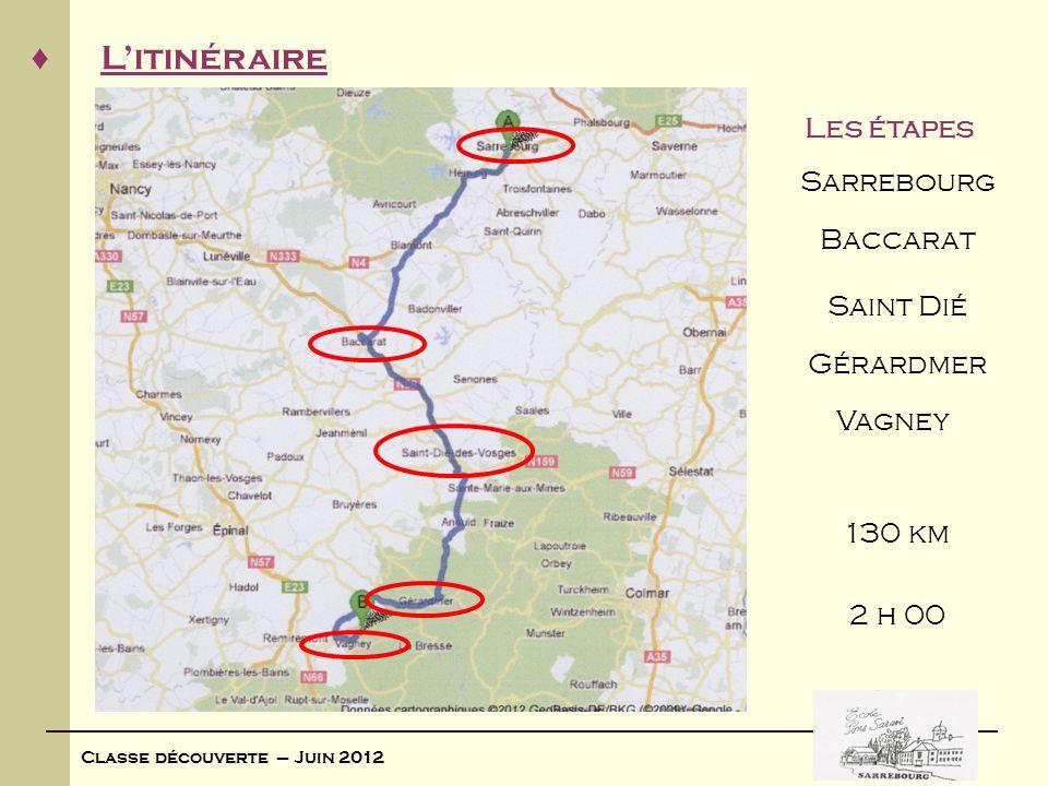 Classe découverte – Juin 2012 Litinéraire Les étapes 2 h 00 Sarrebourg Baccarat Saint Dié Gérardmer Vagney 130 km