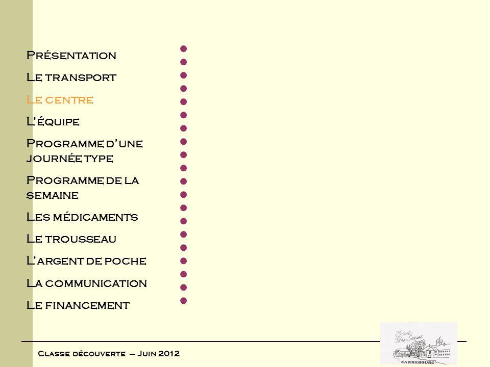 Classe découverte – Juin 2012 Le centre Situé dans les Vosges