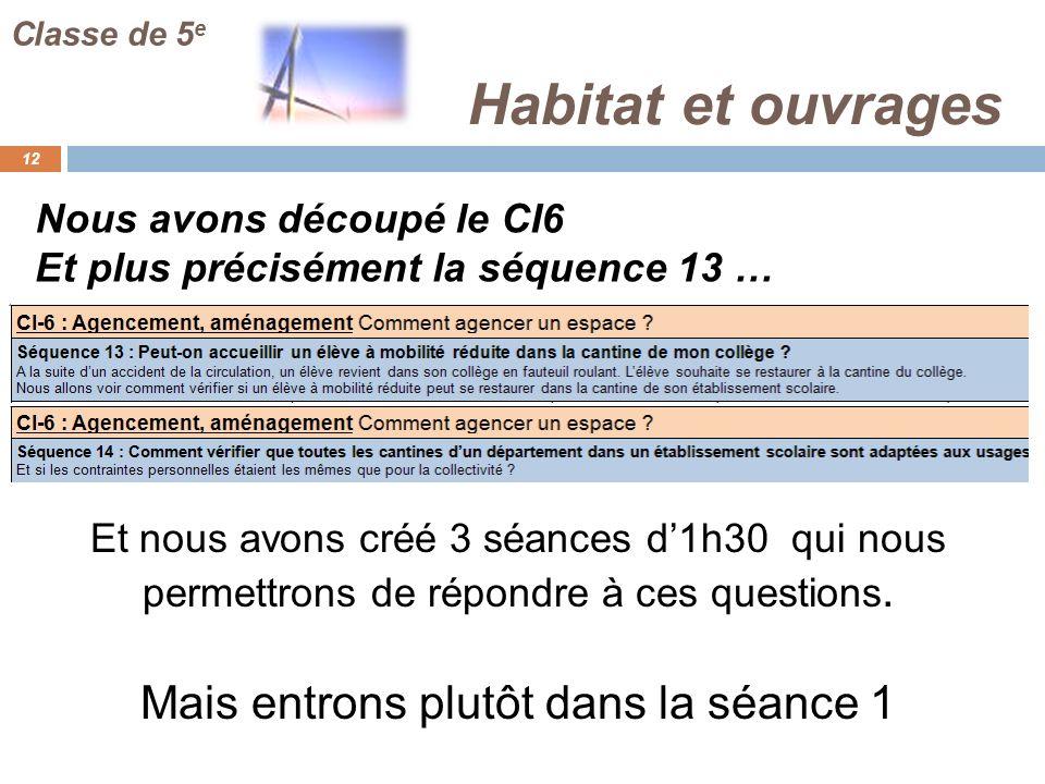 Habitat et ouvrages 12 Classe de 5 e Nous avons découpé le CI6 Et nous avons créé 3 séances d1h30 qui nous permettrons de répondre à ces questions. Ma