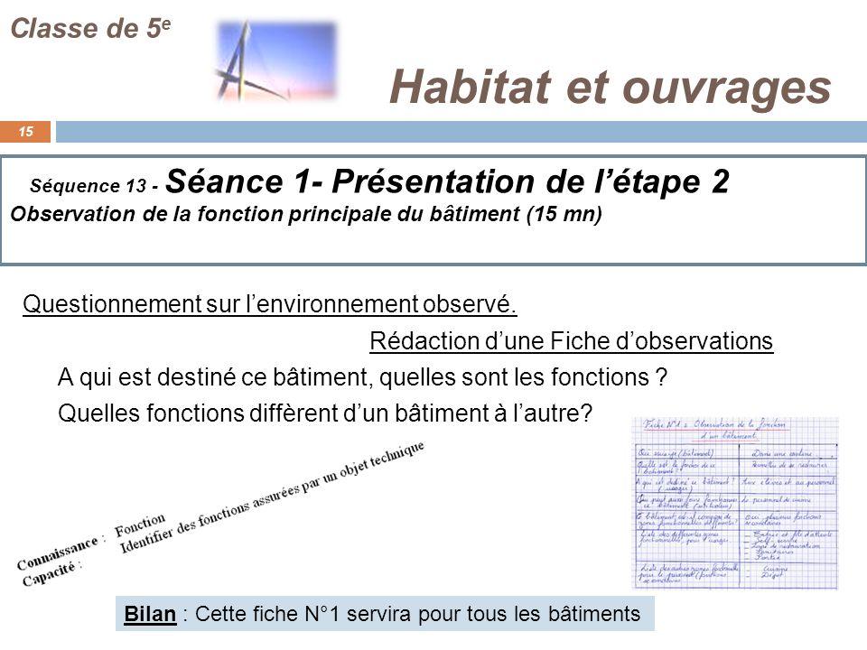 Habitat et ouvrages 15 Classe de 5 e Séquence 13 - Séance 1- Présentation de létape 2 Observation de la fonction principale du bâtiment (15 mn) Questi