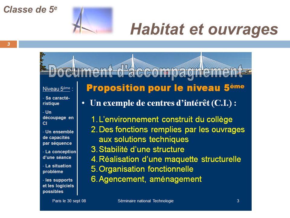 Habitat et ouvrages 3 Classe de 5 e