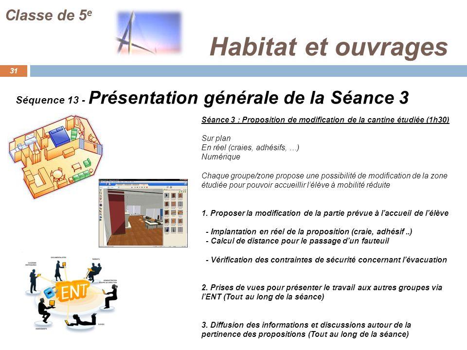 Habitat et ouvrages 31 Classe de 5 e Séquence 13 - Présentation générale de la Séance 3 Séance 3 : Proposition de modification de la cantine étudiée (