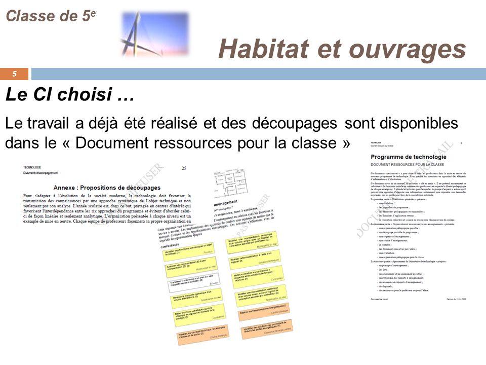 Habitat et ouvrages 5 Classe de 5 e Le travail a déjà été réalisé et des découpages sont disponibles dans le « Document ressources pour la classe » Le