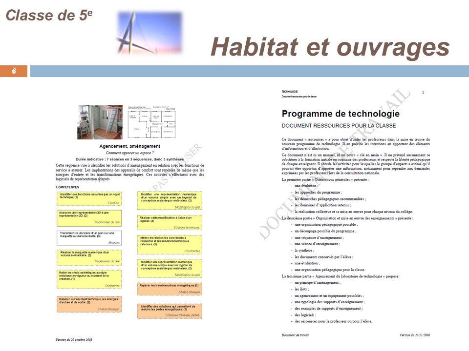 Habitat et ouvrages 6 Classe de 5 e
