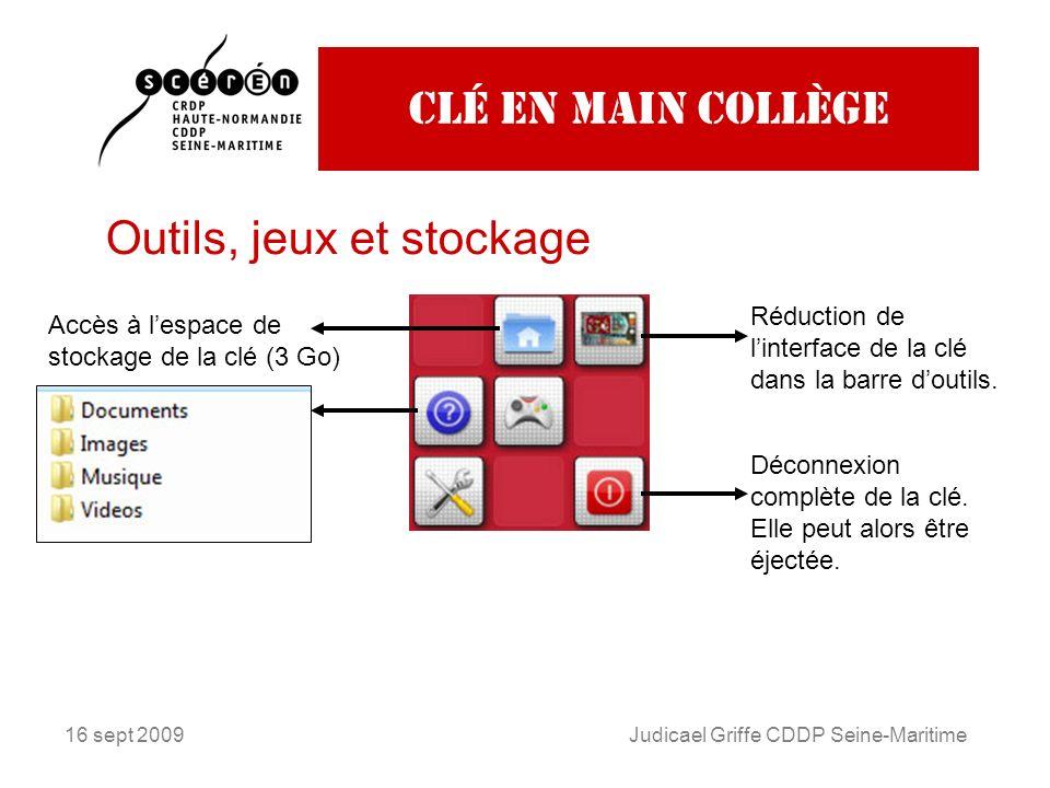 16 sept 2009Judicael Griffe CDDP Seine-Maritime Clé en main collège Outils, jeux et stockage Réduction de linterface de la clé dans la barre doutils.