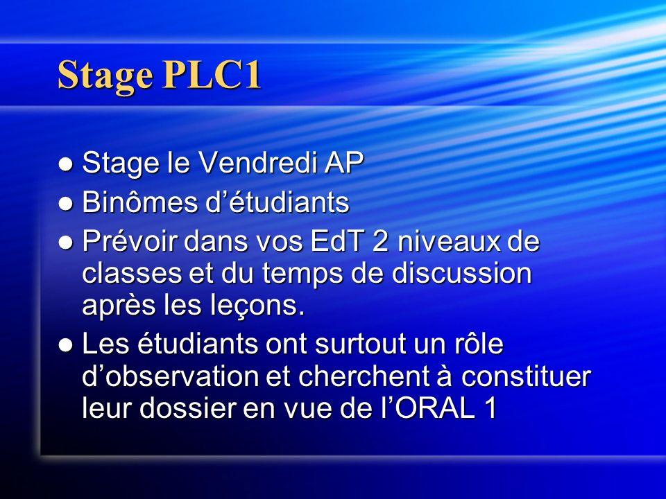 Stage PLC1 Stage le Vendredi AP Stage le Vendredi AP Binômes détudiants Binômes détudiants Prévoir dans vos EdT 2 niveaux de classes et du temps de di