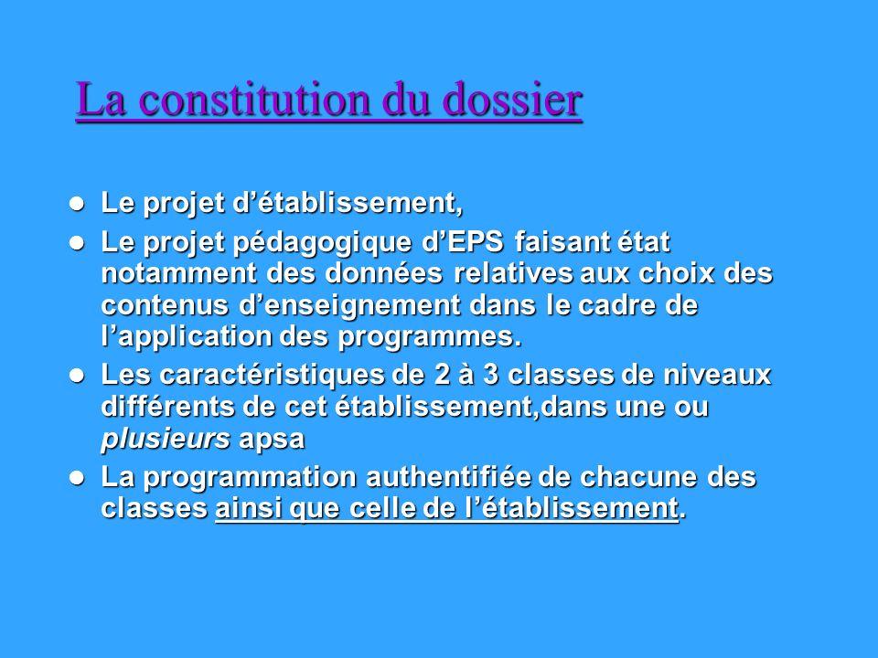 La constitution du dossier Le projet détablissement, Le projet détablissement, Le projet pédagogique dEPS faisant état notamment des données relatives