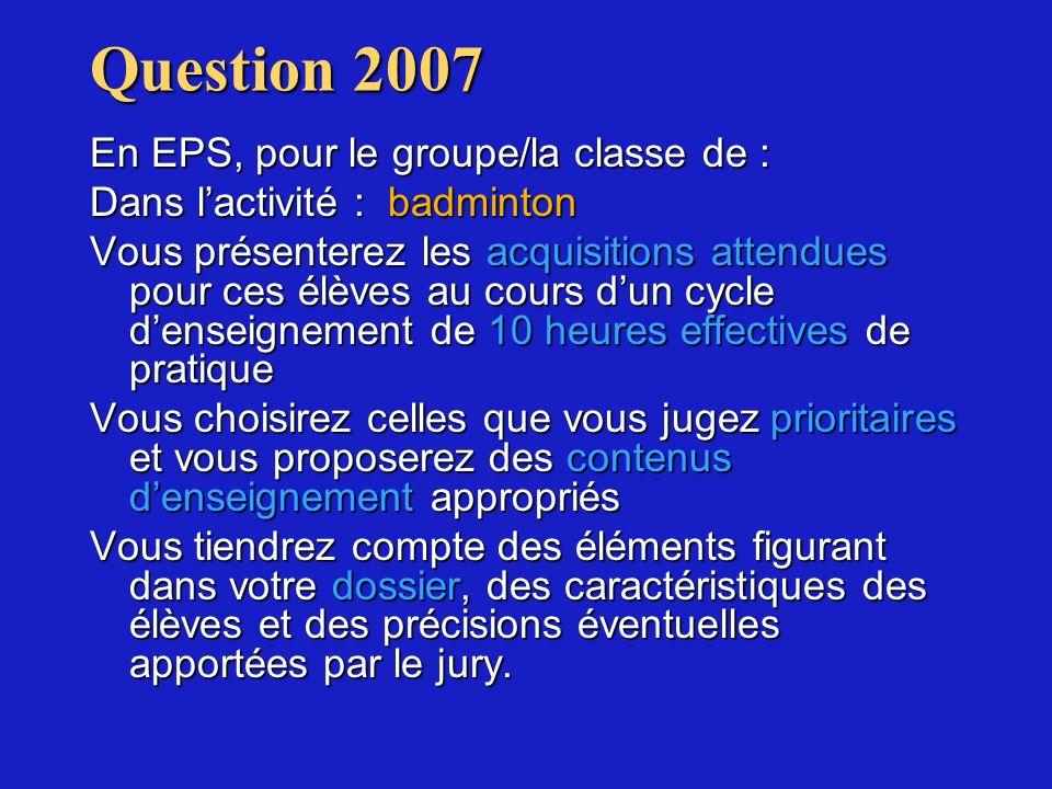 Question 2007 En EPS, pour le groupe/la classe de : Dans lactivité : badminton Vous présenterez les acquisitions attendues pour ces élèves au cours du