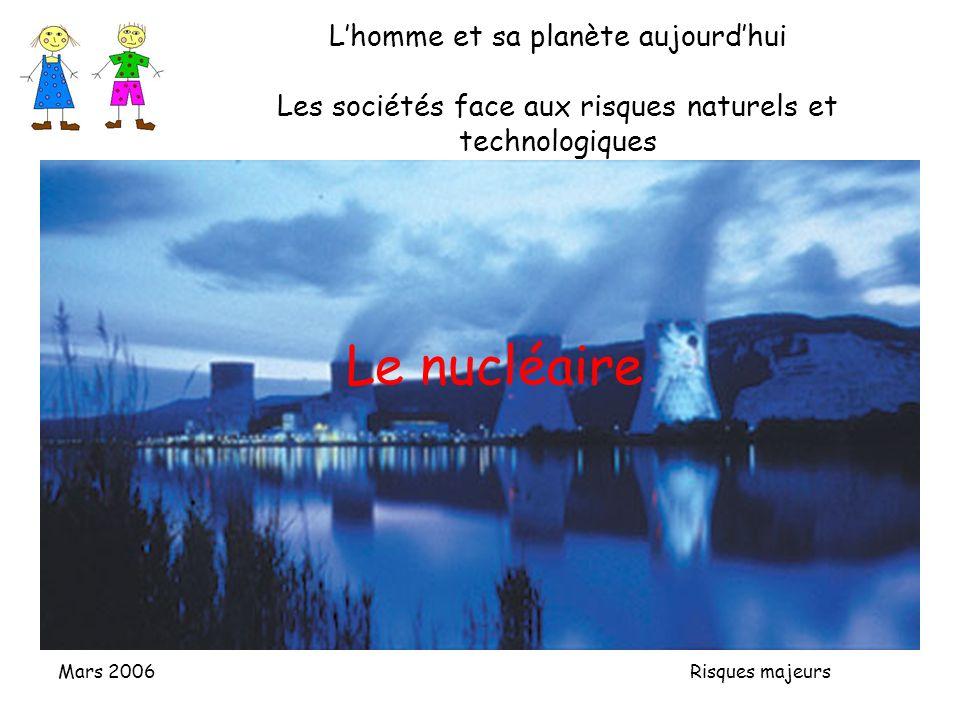 Mars 2006 Risques majeurs Lhomme et sa planète aujourdhui Les sociétés face aux risques naturels et technologiques Le nucléaire