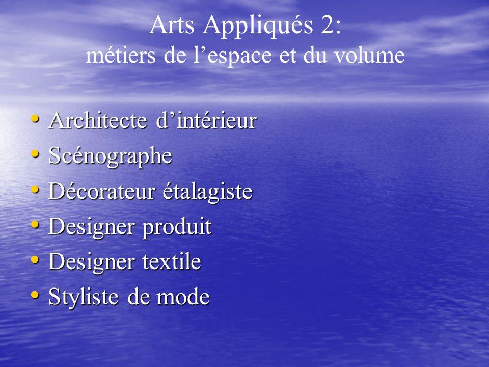 Arts Appliqués 2: métiers de lespace et du volume Architecte dintérieur Architecte dintérieur Scénographe Scénographe Décorateur étalagiste Décorateur