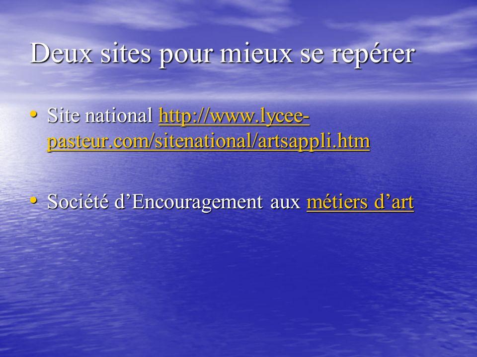 Deux sites pour mieux se repérer Site national http://www.lycee- pasteur.com/sitenational/artsappli.htm Site national http://www.lycee- pasteur.com/si
