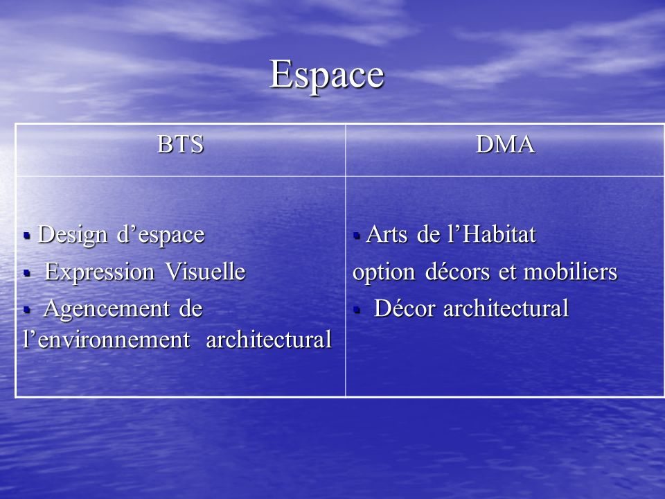 Espace Espace BTSDMA Design despace Design despace Expression Visuelle Expression Visuelle Agencement de lenvironnement architectural Agencement de le