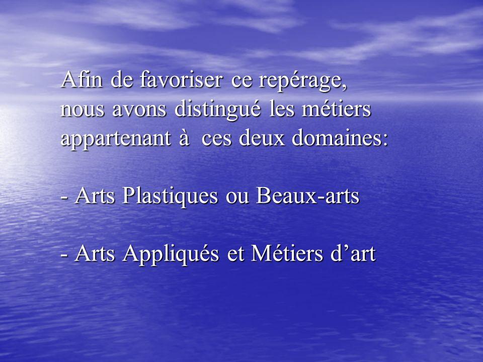 Afin de favoriser ce repérage, nous avons distingué les métiers appartenant à ces deux domaines: - Arts Plastiques ou Beaux-arts - Arts Appliqués et M